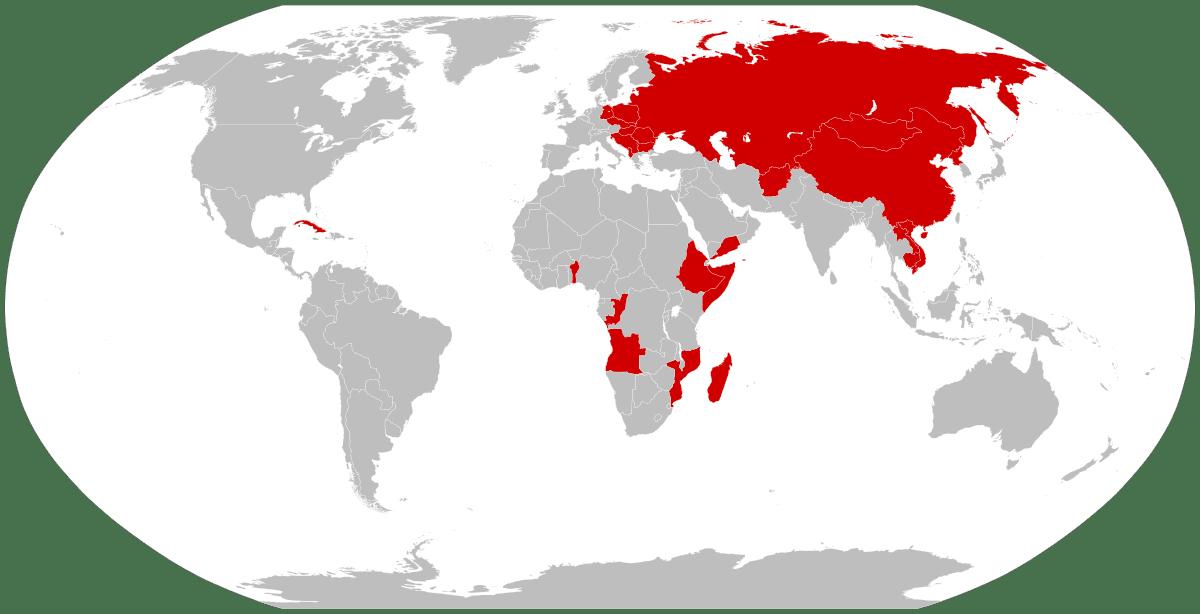 Capitalism vs Communism map