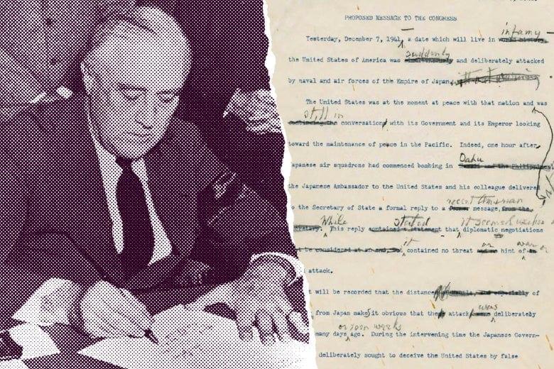 FDR writes infamy speech