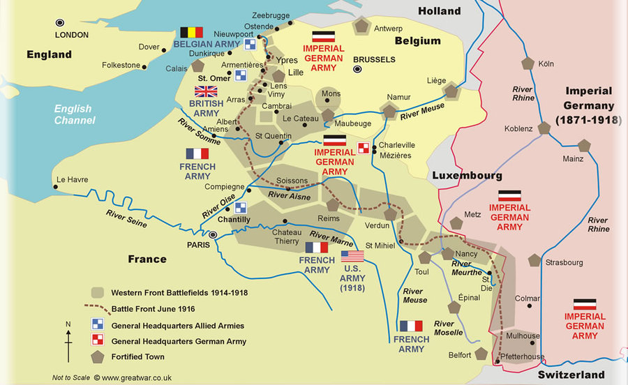 map trench warfare - a line from Switzerland to Calais