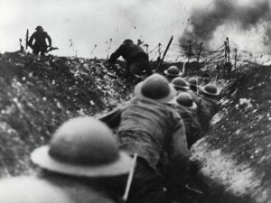 World War I soldiers comming out of the trenches